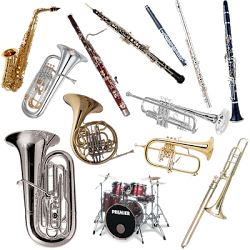 a set of different band instruments