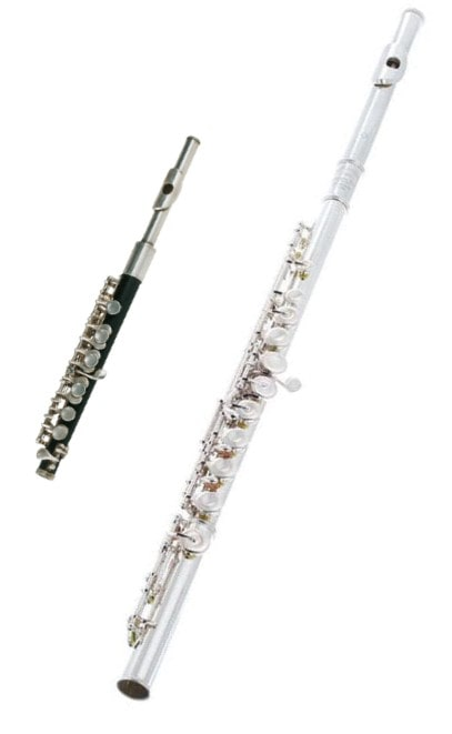 A flute and a piccolo side by side