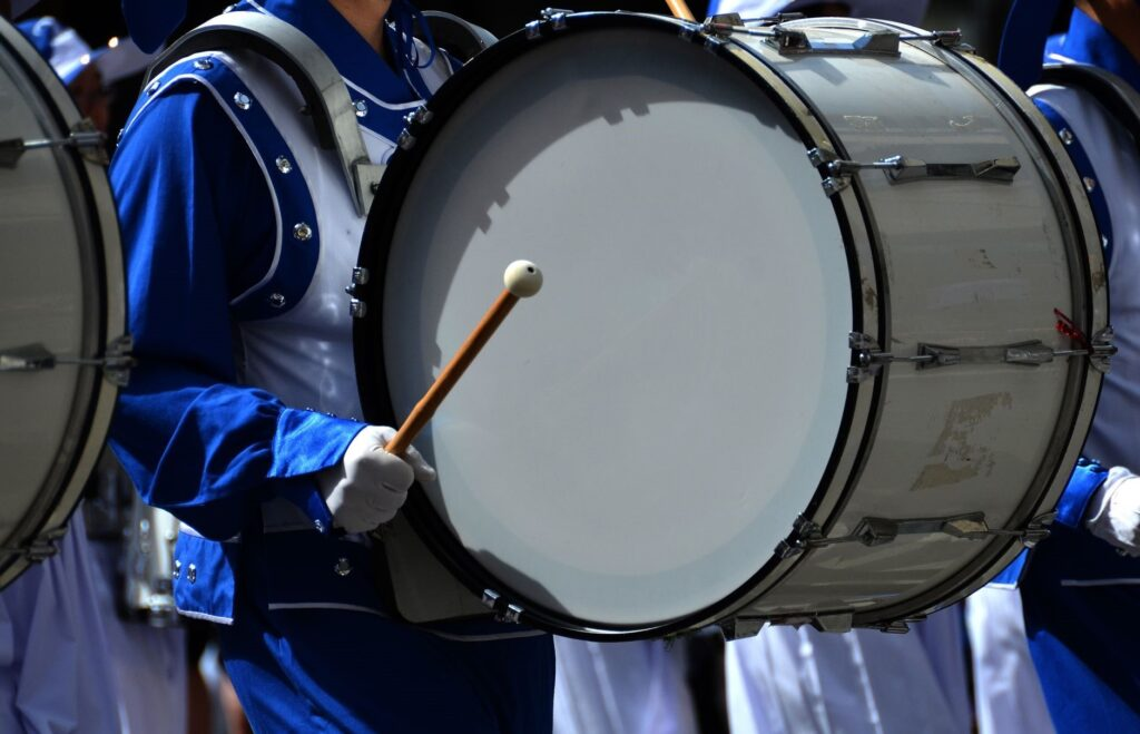 A bass drum in a marching band performance