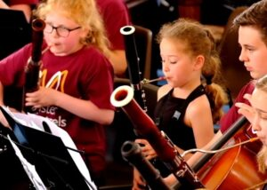 Kids learning to play the bassoon