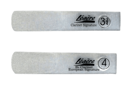 Two legere clarinet signature reeds, side by side