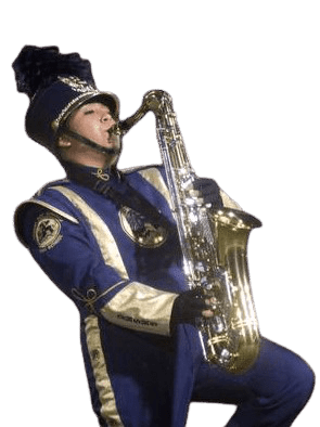 Marching band saxophone player performing