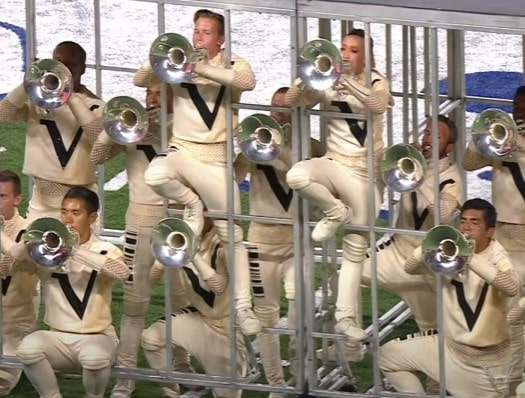 Mellophone players during a performance
