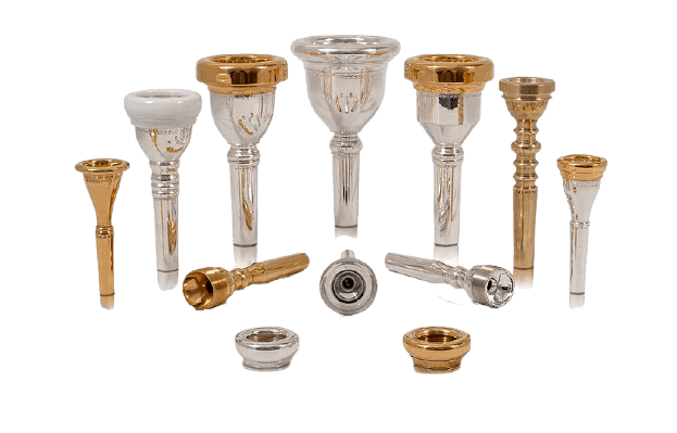 A set of different mouthpieces for brass instruments, including Tuba