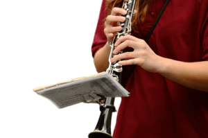 Student playing a clarinet