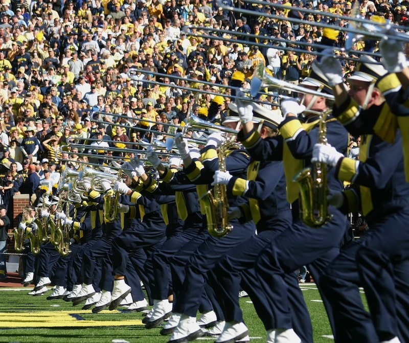 The Michigan Marching Band - Trombones Performing