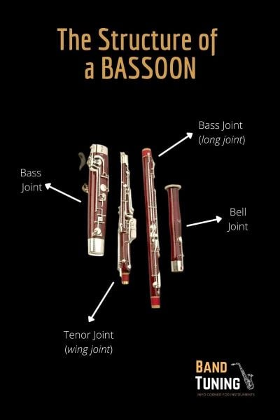 The different parts of a bassoon