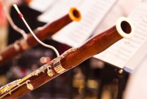 Two bassoon side by side during a performance