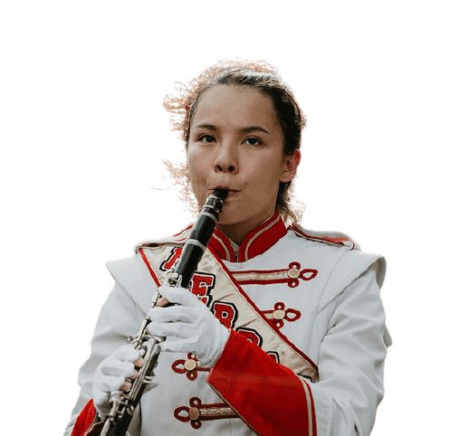 a marching band clarinet player performing