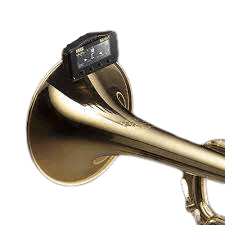 a tuner clipped on a trumpet