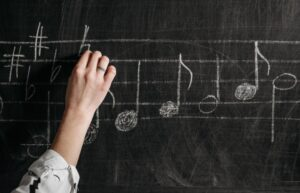 chalkboard with music notes