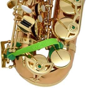 Green colored key leaves on a saxophone