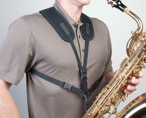 Sax player with a super harness neotech strap